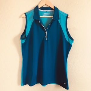 Nike Golf XL Teal Turquoise Sleeveless Button Fit